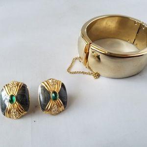 KJL For Avon Signed Vintage Earrings & Bangle